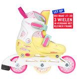 Nijdam Inline Skates, verstelbaar (geel/roze)_