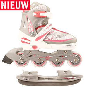 Nijdam Combi Skate & Schaats, 2 in 1, verstelbaar (wit)