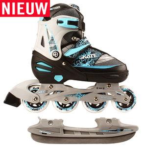 Nijdam Combi Skate & Schaats, 2 in 1, verstelbaar (zwart)
