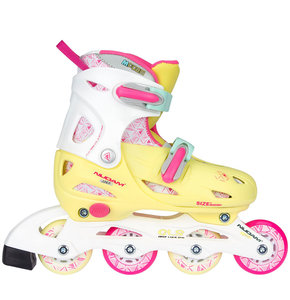 Nijdam Inline Skates, verstelbaar (geel/roze)